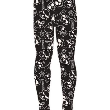 Girl's Skull Leggings Skulls and Bones Black/White: S/L
