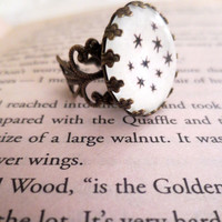 Harry Potter Chapter Heading Stars - Antiqued Bronze Book Page Ornate Ring