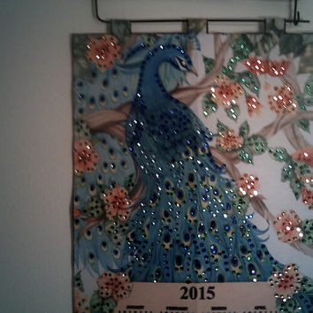 PEACOCK 2015 SEQUIN CALENDAR  2015 New Year Calendar Wall Hanging 2015 Office Decoration Christmas Gift Peacock 2015 Calendar Wall Decor