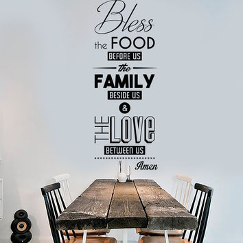 Vinyl Wall Decal Bless The Food Prayer Dining Room Kitchen Stick