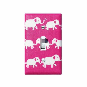 Elephant Light Switch Plate Cover / Hot Pink Baby Girl Nursery Decor / Fuchsia Wall Hanging Lighting