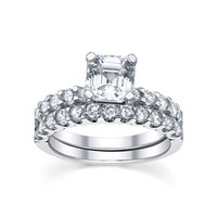Diamonore™ Simulated Diamond 2.75 CTW Asscher Cut Ring