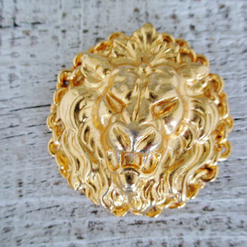 Vintage Brooch Vintage Gold Brooch Lion Brooch Leo Brooch Lion Head Brooch Costume Jewelry 1980's Gold Brooch Unique Brooch Animal Jewelry