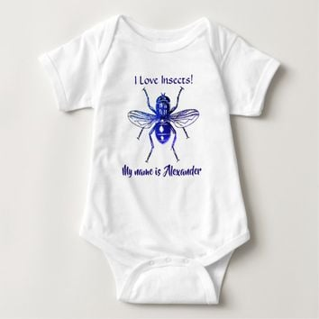 Blue Flying Insect - I love Insects Baby Bodysuit