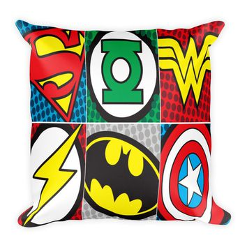 "Superhero Decorative 18"" x 18"" Square Throw Pillow Cushion"