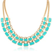 "Chain Link Statement Mint Enamel Accent Necklace, 20"" + 3"" extender"