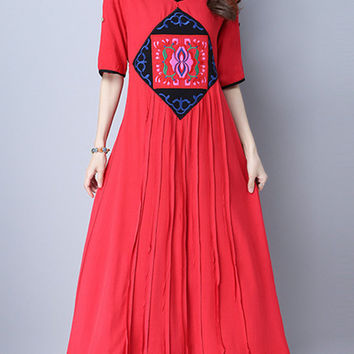Vintage Women Embroidered High Waist Short Sleeve Dresses