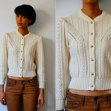 Vtg Retro Wool Off White Button Down Cable Knit Button Down Sweater