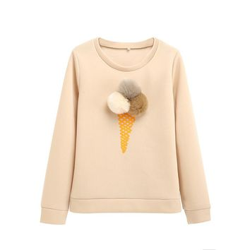 Winter New Female Pullover Fluffy Ball Ice Cream Cake Patterns Shirt Top