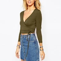 Glamorous Wrap Front Top with Ties at asos.com