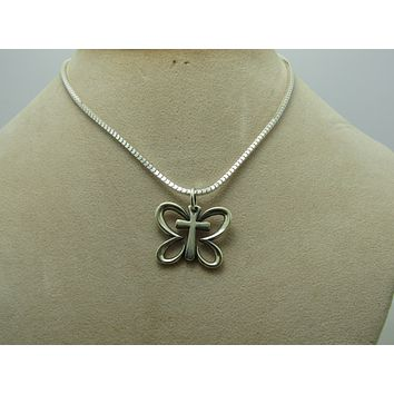 """James Avery Sterling Butterfly Cross Pendant on 20"""" Box Chain"""