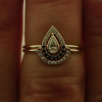 Dainty diamond wedding set: Diamond Engagement Ring & Wedding diamond Band - 14k Gold - Pave Ring