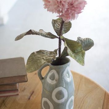 Ceramic Vase With One Handle - White & Grey