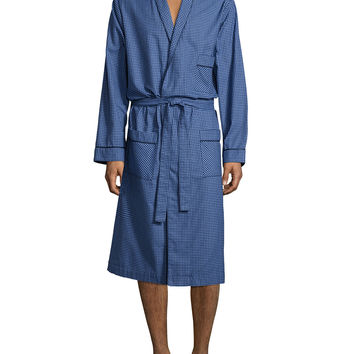 Check Robe with Piping, Navy, Size: