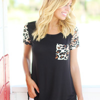Black Leopard Top with Pocket