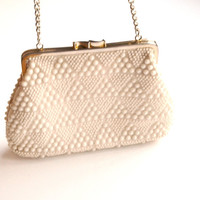 Vintage 1970s Ivory Beaded Purse Vintage Handbag Small Purse