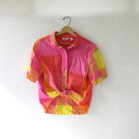 Vintage checkered pink yellow shirt. button up short sleeve top.