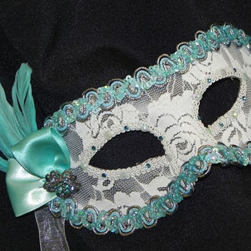 Lace Masquerade Mask in Tiffany Blue, White and Silver