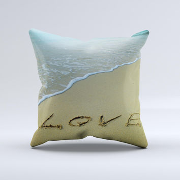 Love beach Sand Ink-Fuzed Decorative Throw Pillow