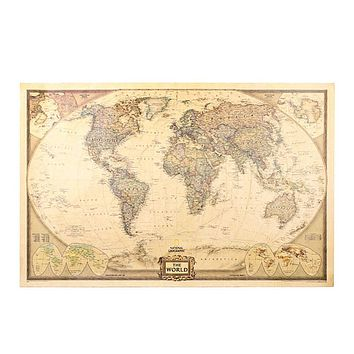 Hot Sale 70x 45cm Retro Vintage World Map Earth Poster Wall Chart Home Office Decor Brown #55013