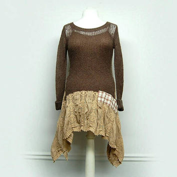 Sweater Tunic, Long Sweater Tunic, Mori Girl, Long Boho Sweater, Bohemian Sweater, Upcycled Clothing for Women by Primitive Fringe