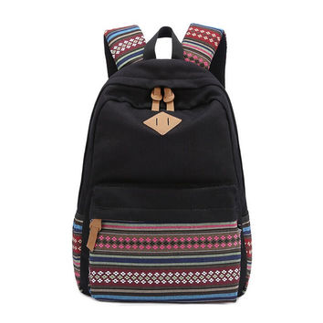 Black Canvas Ethnic Style Large College Backpack Travel Bag Daypack