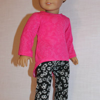 2 piece set! pink lace look high low long sleeve shirt, black floral print leggings,18 inch doll clothes, American Girl doll clothes