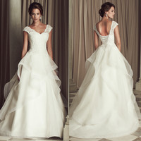 Fashing Vintage Sexy Wedding Dresses V-neck Lace New Custom A-Line Wedding Dress 2015 Hot Sale Sweetangel 192474514
