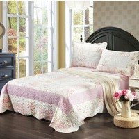 Tache 2-3 Piece Pink Wildflower Picnic Reversible Patchwork Bedspread Set