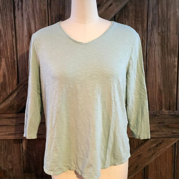Chico's V-neck 3/4 Sleeve Slub Knit Top Green Sz 2 large