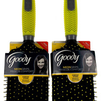 Lot 2 Goody Neon Soft Textured Grip Hairbrush Bright Yellow Gray Styling Brush