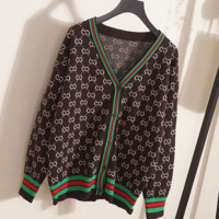 GUCCI Winter new V-neck loose letter cardigan knit sweater coat top Coffee green