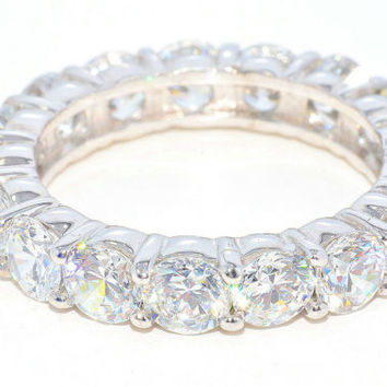 5 Carat Eternity Wedding Band in Sterling Silver White Gold Quality
