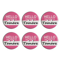 Tamara Hello My Name Is Plastic Resin Button Set of 6