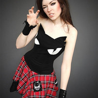 Cat corset black kawaii gothic kitty ears cosplay harajuku