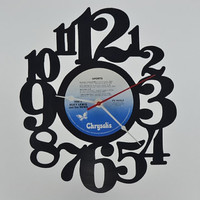 Handcrafted Vinyl Record Clock (artist is Huey Lewis and the News)