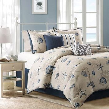 Bayside Polyester Microfiber Brushed Printed Coverlet 6 Pieces Set - Bedding | Madison Park