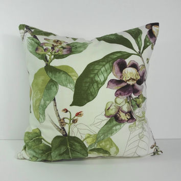 Decorative Green and Purple Pillow Cover, Throw Pillow Cover, Cushion Cover, 18 x 18