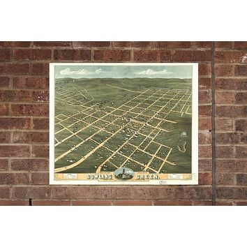 Bowling Green KY Vintage Print Poster 1871 Kentucky