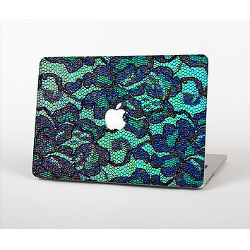 The Blue & Teal Lace Texture Skin Set for the Apple MacBook Air 13""