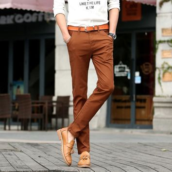 2017 New Mens 4 Color Slim Chino Soft Denim Stretch Jeans Pants Dress Trouser Brown Black Coffee Orange Size 32 33 34 36 38
