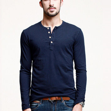 Plain Button-up Pullover Shirt