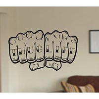 Thug Life Knuckle Tattoo Hand Vinyl Wall Decal Sticker Car Window Truck Decal