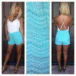 A Place In The Sun Embroidered Romper - MINT & IVORY