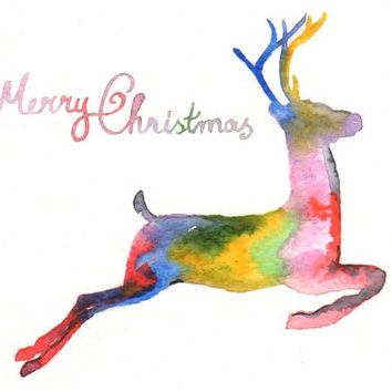 Original watercolor Christmas Card - Reindeer