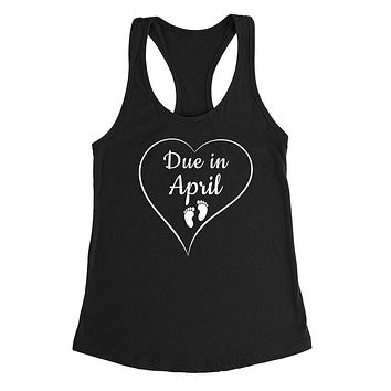 Due in April pregnancy announcement baby reveal baby shower Mother's day gift Ladies Racerback Tank Top