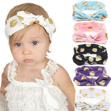 Kids Gold Polka Dots Headband Elastic Ring Cotton Knot Hair Accessories Disassemble&Tie a Knot Kids Hair Accessories W199