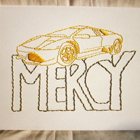 Kanye West Mercy Embroidery Art on Canvas -- Ready to Ship!