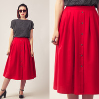 70s Red Circle Skirt / High Waisted Midi Skirt / Button Up Summer Skirt