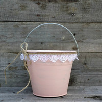 Rustic Flower Girl Bucket, Blush Pail with White Lace, Rustic Wedding Decor, Flower Girl Basket, Shabby Chic Wedding Decor